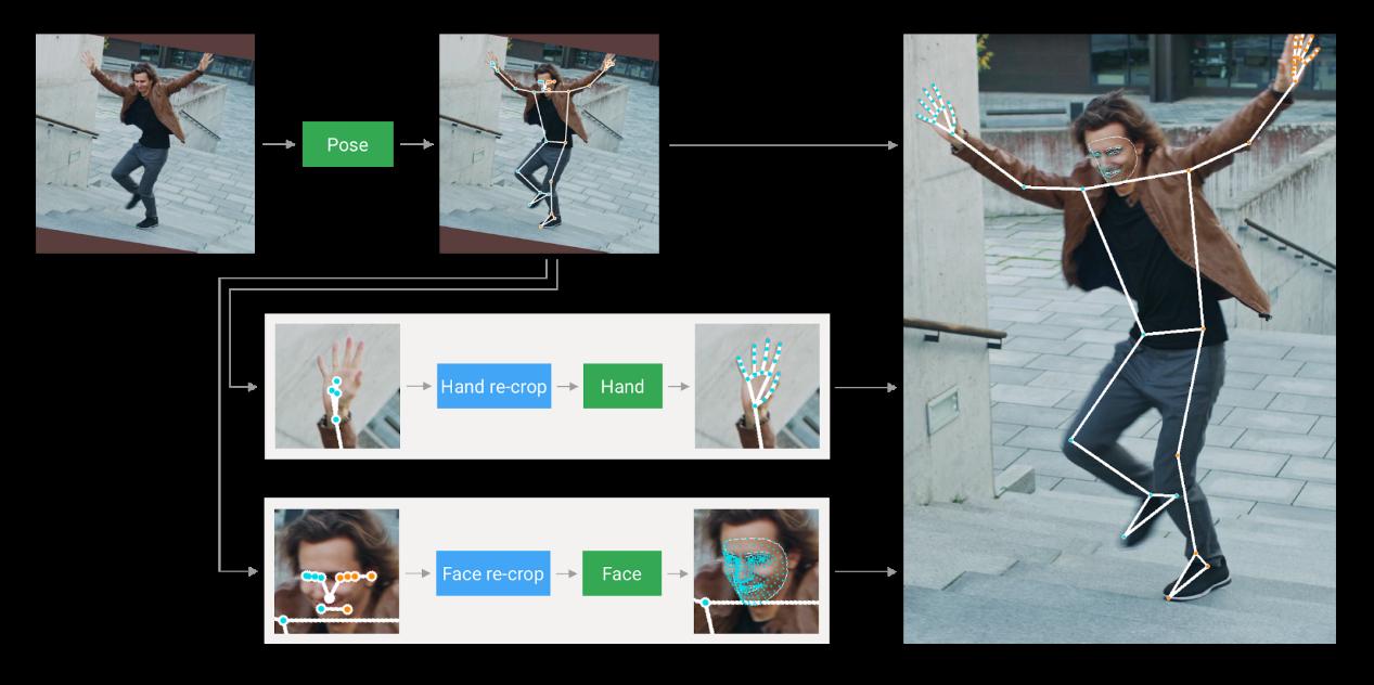 圖、骨架估測流程 https://google.github.io/mediapipe/